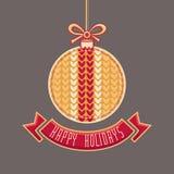 Vettore Cartolina d'auguri felice di feste nella forma della palla Fotografia Stock