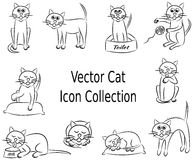 Vettore Cat Icon Collection Set Fotografie Stock