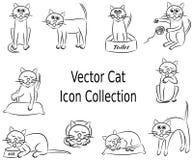 Vettore Cat Icon Collection Set Fotografie Stock