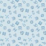 Vettore che clona modello senza cuciture blu nello stile del profilo illustrazione di stock