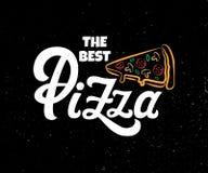 Vettore che segna la migliore pizza con lettere royalty illustrazione gratis