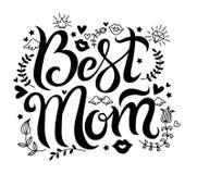 Vettore che segna migliore mamma con lettere fotografia stock