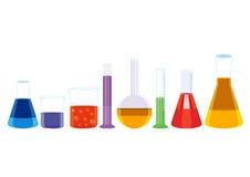 Vettore chimico dell'illustrazione delle icone delle provette Immagini Stock