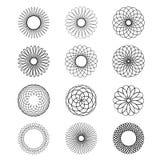 Vettore circolare geometrico del tatuaggio del nero di tiraggio del fiore dello Spirograph dell'ornamento Fotografie Stock Libere da Diritti
