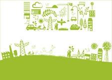 Vettore - città verde Immagini Stock