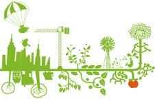 Vettore - città verde in costruzione Fotografia Stock Libera da Diritti