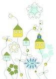 Vettore con i cottage fantastici illustrazione di stock