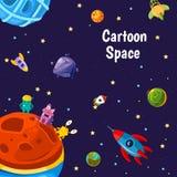 Vettore con i pianeti e le navi dello spazio del fumetto illustrazione vettoriale