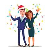 Vettore corporativo della festa di Natale Uomo e donna potabili sorridenti Rilassamento celebrando concetto di inverno Conclusion illustrazione di stock