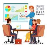 Vettore corporativo di riunione d'affari Dati di Explaining Quarter Report del responsabile della donna teamwork Chiacchierando n illustrazione vettoriale