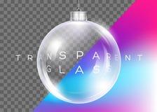 Vettore Crystal Clear Christmas Ball Palla lucida realistica Immagini Stock