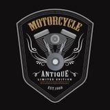 Vettore d'annata dell'insegna dell'emblema dello schermo di logo del motore del motociclo Fotografie Stock Libere da Diritti
