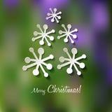 Vettore d'annata della cartolina dell'albero di Natale con i fiocchi di neve Simbolo di feste illustrazione vettoriale