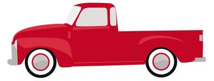 Vettore d'annata rosso dell'illustrazione del camion Fotografie Stock Libere da Diritti