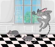 Vettore d'attacco dei topi del gatto illustrazioni divertenti del personaggio dei cartoni animati illustrazione vettoriale