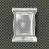 Vettore d'imballaggio dello spuntino di plastica Involucro trasparente della borsa del cuscino Polietilene vuoto del prodotto fal illustrazione vettoriale