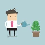 Vettore d'innaffiatura della pianta di soldi dell'uomo d'affari illustrazione di stock