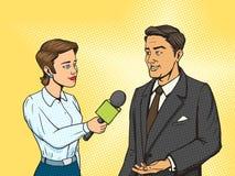 Vettore d'intervista del libro di fumetti dell'uomo del reporter della donna Fotografie Stock Libere da Diritti