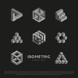 Vettore 3d Logo Set isometrico Fotografia Stock