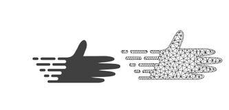 Vettore 2D Mesh Moving Hand ed icona piana illustrazione di stock