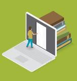 Vettore 3d pianamente isometrico con il concetto di istruzione royalty illustrazione gratis