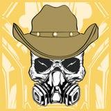Vettore d'uso di respirazione del cranio del cowboy illustrazione vettoriale