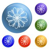Vettore decorativo dell'insieme delle icone del fiore illustrazione di stock