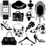 Vettore degli accessori delle donne Fotografia Stock