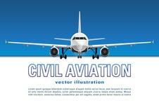 Vettore degli aerei Insegna, manifesto, aletta di filatoio, carta dall'aereo contro lo sfondo del cielo blu e testo su un contest illustrazione di stock