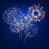 Vettore dei fuochi d'artificio variopinti che esplodono Fotografia Stock Libera da Diritti