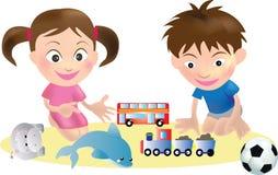Vettore dei giocattoli e dei bambini Fotografia Stock