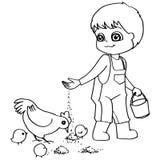 Vettore dei polli di alimentazione dei bambini del libro da colorare Immagine Stock