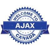 Vettore del BENVENUTO alla città AJAX Country CANADA bollo autoadesivo Stile di lerciume EPS8 Immagini Stock Libere da Diritti