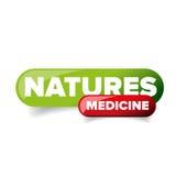 Vettore del bottone della medicina delle nature Fotografia Stock Libera da Diritti