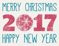 Vettore del buon anno e di Buon Natale 2017 Fotografie Stock