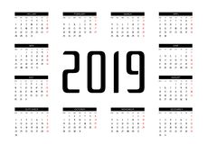 Vettore del calendario 2019 illustrazione di stock