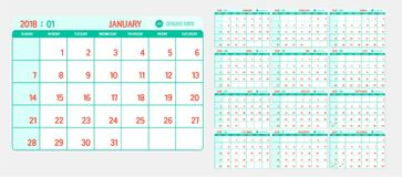 Vettore del calendario 2018 nuovi anni con verde d'annata e ri leggeri Immagine Stock Libera da Diritti