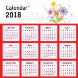 Vettore del calendario 2018 del pianificatore del fiore del buon anno Immagine Stock Libera da Diritti