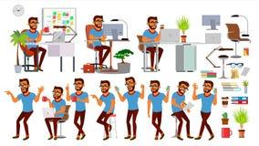 Vettore del carattere dell'uomo di affari Insieme indù di lavoro della gente Ufficio, studio creativo barbuto Situazione di affar royalty illustrazione gratis