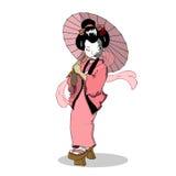 Vettore del carattere di Woman Japan Cartoon della geisha Immagini Stock Libere da Diritti