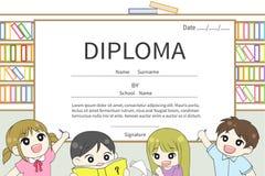 Vettore del certificato del diploma dei bambini della scuola elementare del fumetto Fotografia Stock Libera da Diritti