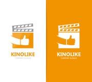 Vettore del ciac e come la combinazione di logo Cinema e migliore simbolo o icona Progettazione unica del logotype del film e del Fotografie Stock Libere da Diritti