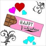 Vettore del cioccolato del biglietto di S. Valentino Immagini Stock Libere da Diritti