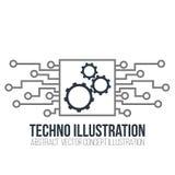 Vettore del circuito su fondo bianco Gli ingranaggi, l'ingegneria e la tecnologia, la scheda madre ed il computer progettano, ill illustrazione di stock