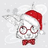 Vettore del coniglio del nuovo anno Coniglio nel cappello Coniglio sveglio Fotografie Stock
