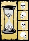 vettore del cranio e della clessidra   illustrazione di stock