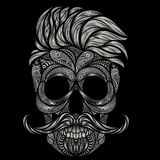 Vettore del cranio umano con capelli ed i baffi immagini stock