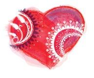 Vettore del cuore dell'acquerello con l'ornamento Fotografia Stock