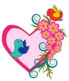 Vettore del cuore e dell'uccello Fotografie Stock