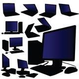 Vettore del desktop computer e del computer portatile Immagini Stock Libere da Diritti